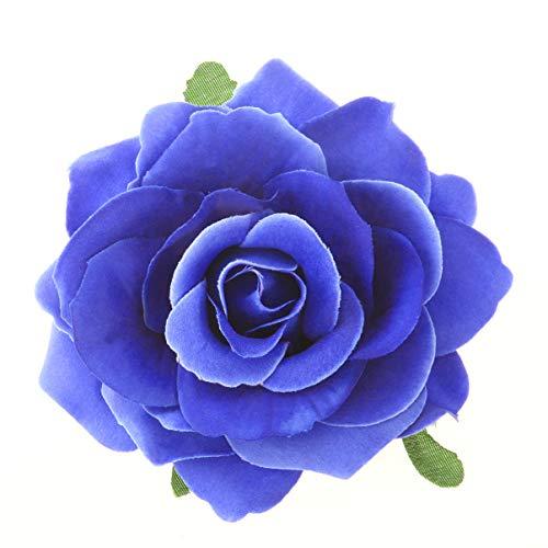 NUOLUX Fleurs Roses Fleurs Artificielles Pinces à Cheveux en Épingle à Cheveux Grande Fleur Broche Fleur pour Fête des Femmes (Bleu Ciel)