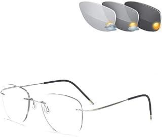 Gradient ultralichte titaniumgouden leesbril, frameloze fotochrome overgang uv400 pilotenbril voor heren leesbril,Silver,+...