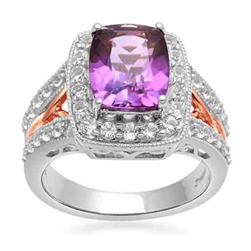 Jewelili 14kt Rose Gold Plated Sterling Silver 10x8mm Cushion Amethyst and Round Created White Sapphire Halo Ring, Size 7 Amethyst Pink Sapphire Ring