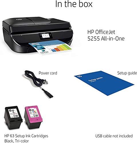 HP OfficeJet 5255 Inyección de Tinta 10 ppm 4800 x 1200 dpi A4 WiFi - Impresora multifunción (Inyección de Tinta, 4800 x 1200 dpi, 100 Hojas, A4, Impresión Directa, Negro)