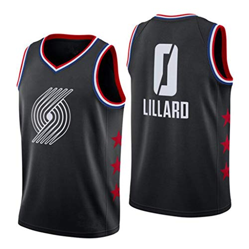 XYHS Damian Lillard Basketball Trikot # 0 Portland Trail Blazer Ärmellose Swingman All-Star Basketball Weste (S-XXL)-S
