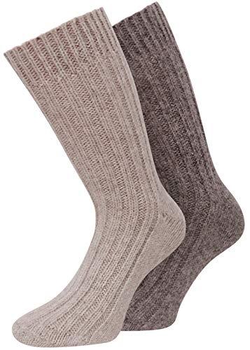 kb-Socken - Alpaka Socken Wollsocken 100prozent Natur Alpaka mit Wolle Herren Damen wie Handgestrickt aus Alpaka mit Wolle, 2 Paar Gr 39-42