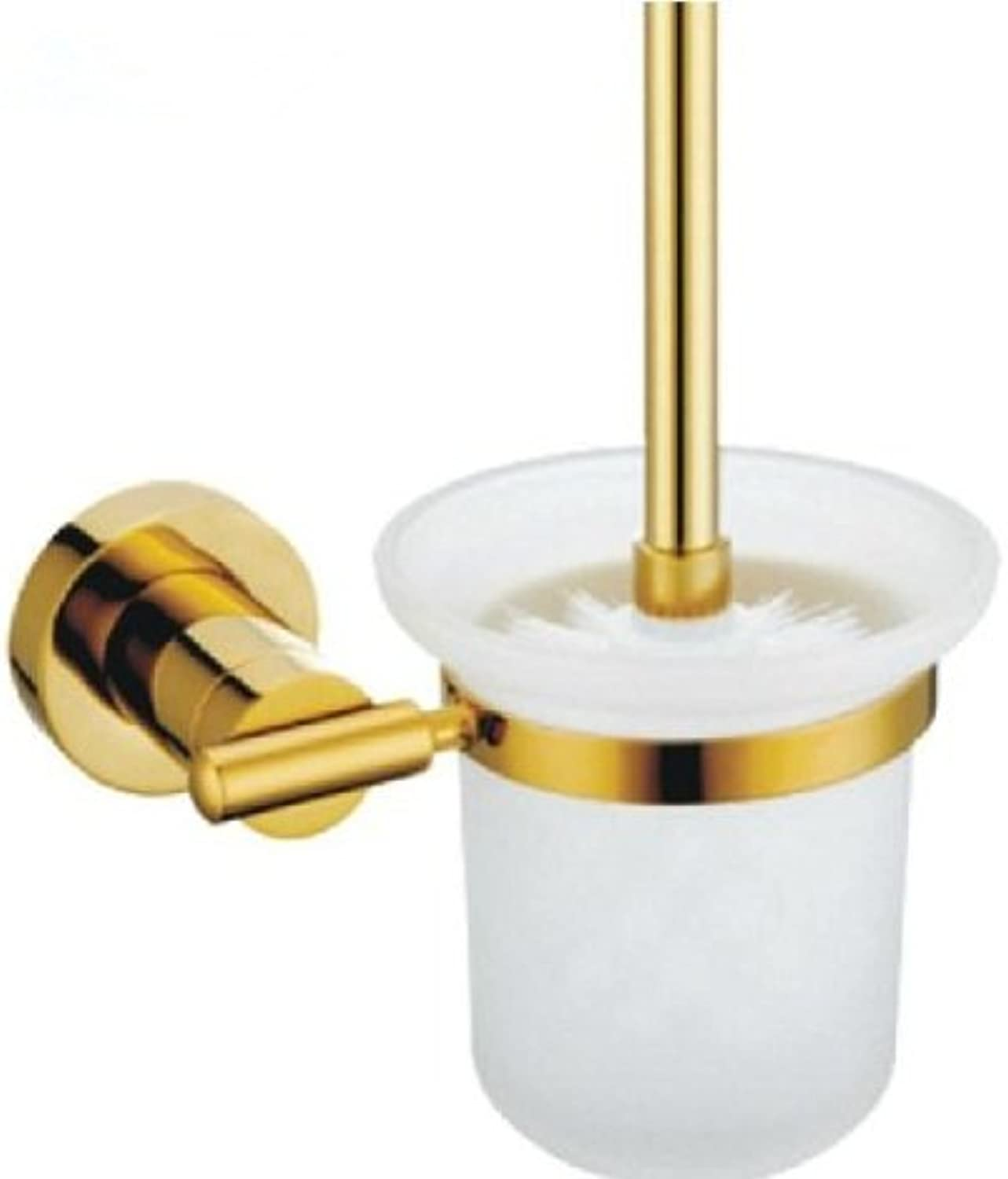 TACCY Bathroom Toilet Brush with Frosted Glass Cup and Brass Holder in Polished gold Finish  MT99A