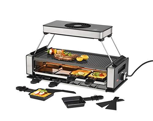 UNOLD 48785 RACLETTE Smokeless mit Abnehmbarer Dunstabzugshaube, für bis zu 8 Personen, wendbare Grillplatte, integrierter Pfännchenablage und Antirutschfüßen, Schwarz/Edelstahl