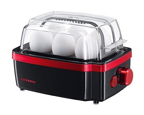 SEVERIN Eierkoker, incl. water maatbeker met eierprikker, 6 eieren, 3 hardheidsniveaus, EK 3156, zwart/rood