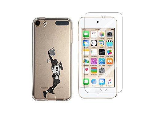 NOVAGO -Compatible con iPod Touch 7, Touch 6, Touch 5, Funda Carcasa silicnoa Resistente + 1 protección de Pantalla Vidrio Templado Resistente -Jugador de Baloncesto
