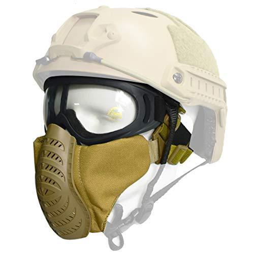 QMFIVE Airsoft halbe Gesichtsmaske, Taktische Maske mit Gehörschutz Jagd Paintball Military Motorrad Cosplay Film Prop(TAN)