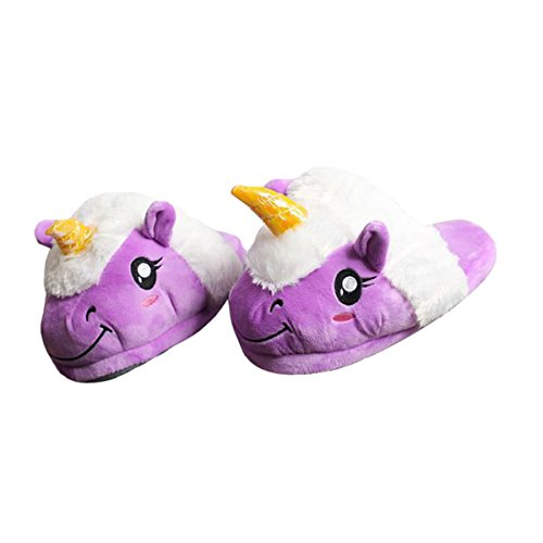 Casa Invierno Zapatos de pantuflas, Zapatillas Zapatos peluche de felpa Unicornio para adulto talla única para todos, 35-42 Púrpura