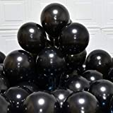 Party Balloons 12inch 50pcs 3.2g/pcs Latex Metallic Balloons Chrome Balloons Birthday Shiny Balloons Party Decoration Wedding Birthday Baby Shower Christmas Party-Metallic Black (Metallic Black )
