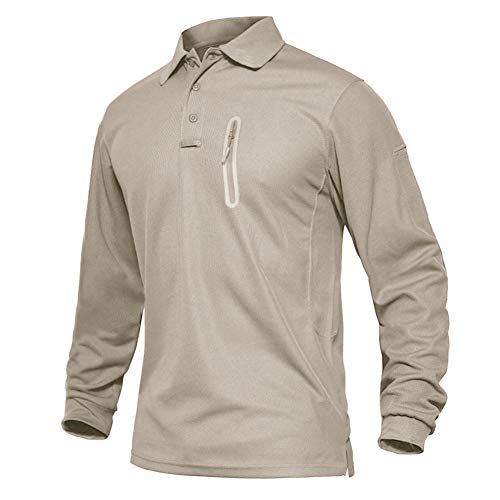 EKLENTSON Herren Langarm-Poloshirts Freizeitshirts Casual Shirts Hemd Arbeitshemden, Khaki-RV