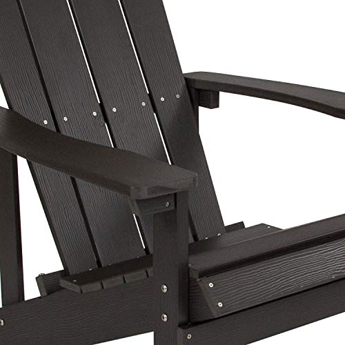 Flash Furniture Charlestown All-Weather Adirondack Chair in Slate Gray Faux Wood
