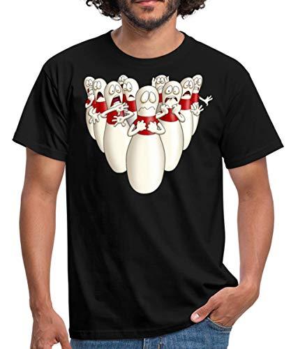 Kegeln Bowling Pins Kegel Haben Angst Rahmenlos Männer T-Shirt, 4XL, Schwarz