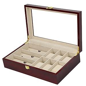 木製 おしゃれ サングラス & 腕時計 収納ケース 6本 コレクション 眼鏡ケース 眼鏡収納 腕時計収納 ウォッチ 多機能収納