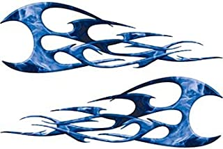 Weston Ink Reflective Twisted Tribal Flames Motorcycle Tank Decal Kit in Blue Inferno