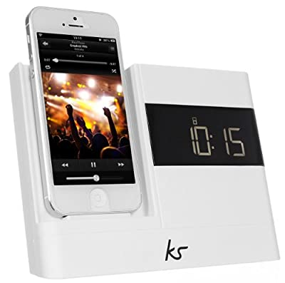 KitSound X-Dock2 LCD Display Clock Radio Dock with Lightning Connector for iPhone 5/5S/6/6S, iPod Nano 7th Generation and iPod Touch 5th Generation - White from KitSound
