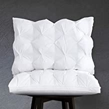 Arometerty Goose Feather Pillow Queen 2 Pack White Pinch Pleat Bed Pillow for Different Sleep Requirements-100% Cotton Fabric Luxury Feather Pillows-Queen Size Gusset Wall Design Pillow 20x28 Inches