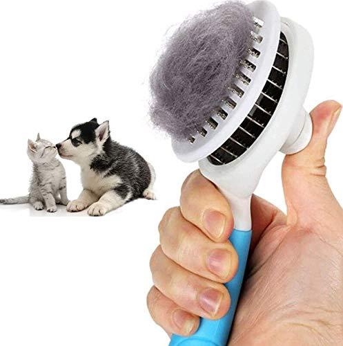 BTkviseQat Katzenbürste, Hundebürste, Katzenburste mit Massage Effekt Haustierkamm Fellpflege Bürste, Selbstreinigende deshedding Katzenbürste Hundebürste Entfilzungbürste