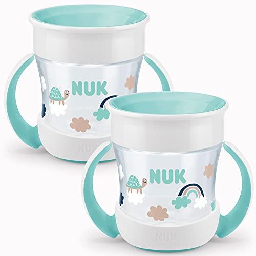 NUK Mini Magic Cup Trinklernbecher 2er-Pack   auslaufsicherer 360°-Trinkrand   ab 6 Monaten   praktische Griffe   BPA-frei   160 ml   türkis