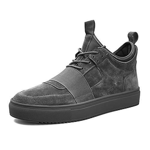 CAIFENG Zapatillas de Deporte de Moda for Hombres Zapatos Deportivos de Cordones de Cordones PU Cuero sólido Color Redondo Toe (Color : Gray, Size : 40 EU)