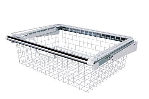 sliding baskets Rubbermaid Configurations Sliding Basket for Closet Drawer Organization, Sturdy Slide Out Basket, White