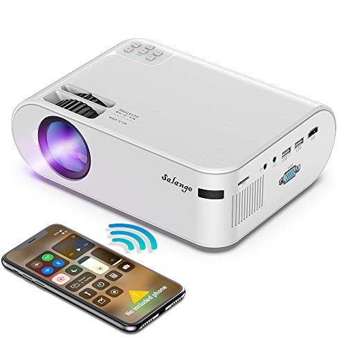 Mini Projector for iPhone, WiFi Projectors Wireless Screen Mirroring, Salange P62H Movie Projector with 4500Lux/Native 720P/X-Y Zoom/Dolby Sound, Compatible with TV Stick/PS4/HDMI for Home/Outdoor