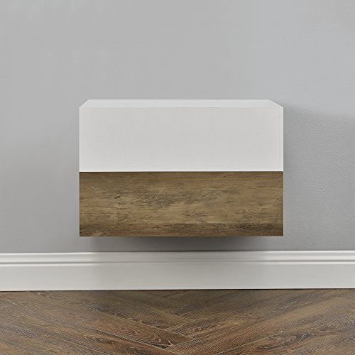 [en.casa] Set de 2 Mesitas de Noche de Pared con cajón - Apariencia de Madera/Blanco Mate - 46x30x15cm