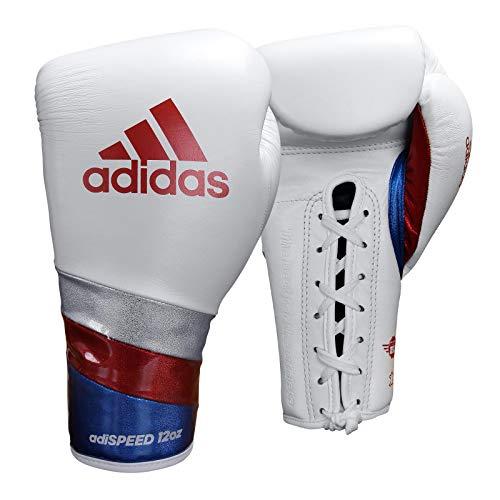 adidas AdiSpeed Boxhandschuhe mit Spitze, für Erwachsene, Herren, Damen, 340,2 g, 397,9 g, 453,6 g, 510,3 g (weiß/rot, 453,6 g)