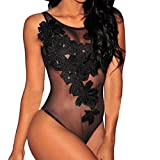 HOOUDO Women Sexy Lace Floral Lingerie Lace Underwear Sleepwear Siamese Body Stocking Bodysuit Erotic Nightwear(M,Black)