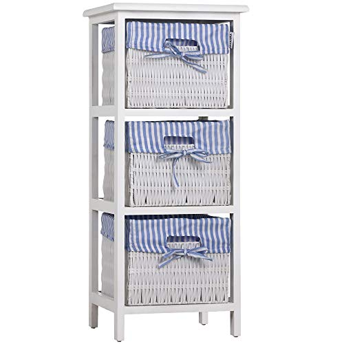 Deuba Storage Unit 3 Tier Wooden Chest of Drawers Cabinet Rack Wicker Baskets Paulownia Polyrattan Bedroom Bathroom White