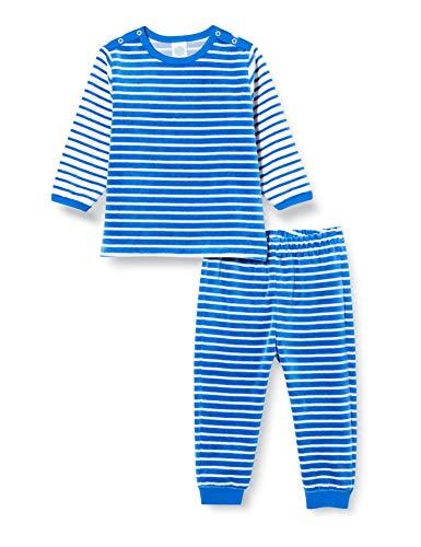 Sanetta Baby-Jungen Long Blue Kuschelweicher Nicki-Pyjama modernen blau-weißen Ringel-Look für kalte Winternächte, 098