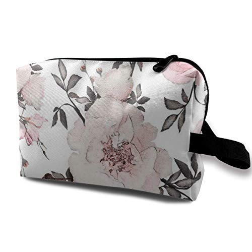 Hdadwy Cosmetic Bag Portable Handbag Pastel Pink Floral Print Travel Toiletry Pouch Small Makeup Bags Case Organizer