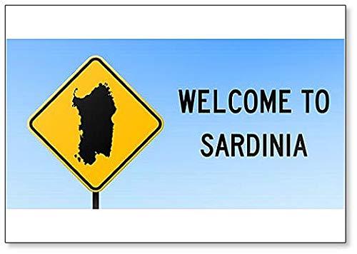 Sardinië Map On Road Sign - Koelkast Magneet