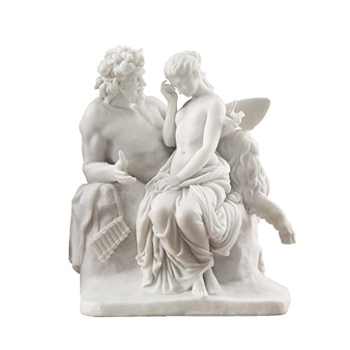 Design Toscano Pan tröstet Psyche - Figur aus Naturmarmor, Maße: 14 x 19 x 21,5 cm