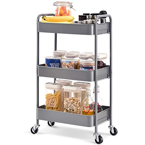 TOOLF 3-Tier Rolling Cart, Metal Utility Cart with Lockable Wheels, Storage Craft Art Cart Trolley Organizer Serving Cart Easy Assembly for Office, Bathroom, Kitchen, Kids' Room, Classroom (Grey)