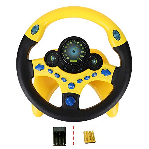 Facaily Simulated Driving Controller Portable Simulated Driving Steering Wheel Copilot Toy Children's Educational Sounding Toy Small Steering Wheel Toy Gift Funny Interactive Driving Wheel with Music