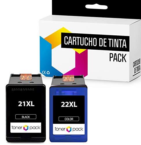 2 TONERPACK® 21 XL 22 XL Cartuchos de Tinta Compatible 21XL 22XL para impresoras Deskjet F4180 F2180 F2280 F2290 F380 F335 F390, HP Officejet 4315 4355 (1 Negro + 1 Tricolor)