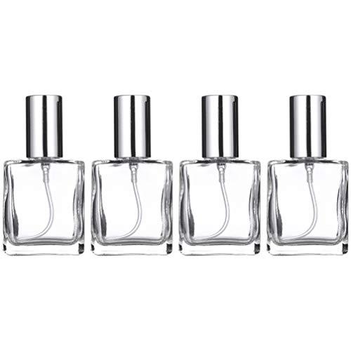 Beaupretty 4 Pcs Rechargeable Parfum Bouteilles De Pulvérisation Carré Vide En Verre Bouteilles De Liquide Pour Atomiseur De Parfum Distributeur D'huiles Essentielles (Couvercle Argent)
