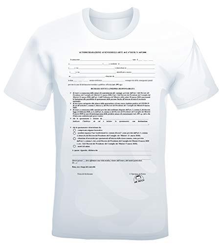 Mister Patch T-Shirt Divertente con Stampa autocertificazione Covid-19 con Pennarello indelebile Incluso - 100% Cotone (L)