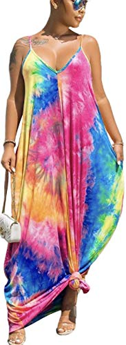 LaiyiVic Tie Dye Maxi Dresses for Women Casual Summer Sexy Bodycon Long Floor Length Sleeveless Colorful Sundresses Plus Size