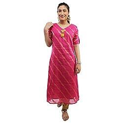 Meen Pink cotton resham work A-Line Kurta