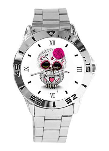 Reloj de pulsera analógico de cuarzo con diseño de calavera y búho de color rosa con esfera plateada clásica de acero inoxidable para mujer