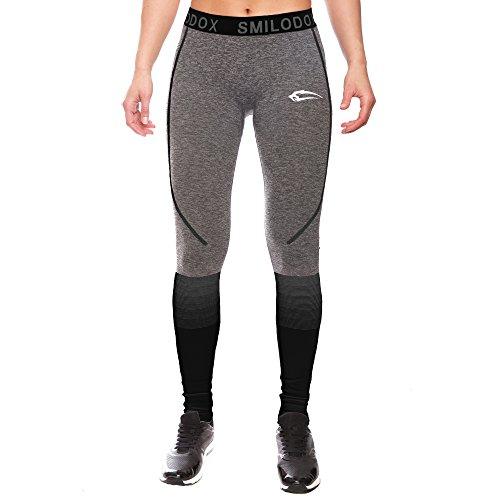 SMILODOX Sport Leggings Damen | Seamless - Figurformende Tight für Sport Fitness Gym Yoga | Sporthose - Workout Trainingshose - Tights Laufhose | Farbverlauf, Größe:XS, Farbe:Anthrazit/Schwarz