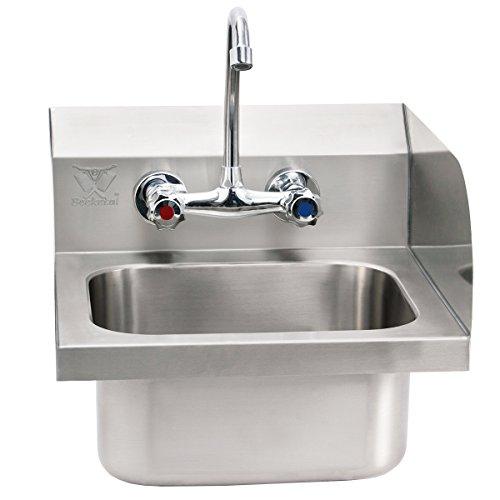 Beeketal 'HWB-II' Industrie Handwaschbecken aus Edelstahl mit Spritzschutz Aufkantung, Waschbecken zur Wandmontage mit Wasserhahn Mischbatterie, Siphon und Abwasserschlauch, inkl. Wandhalterungen