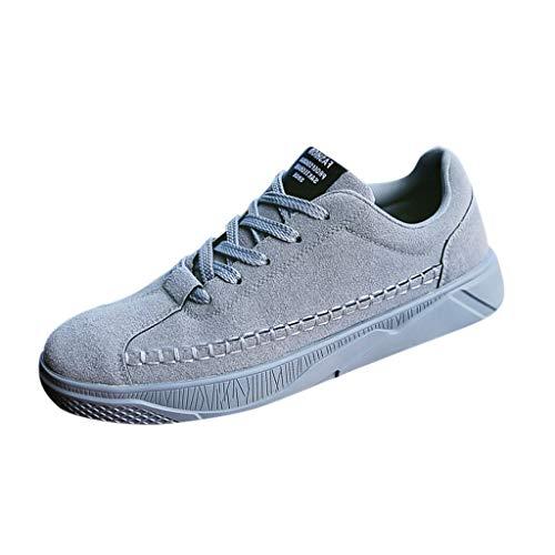 Aoogo Herren Soft Flock Schuhe - Mode Lässig Feste Schnürschuhe Sport Laufschuhe Sneakers Komfortable Slip On Board Schuhe Schuhe