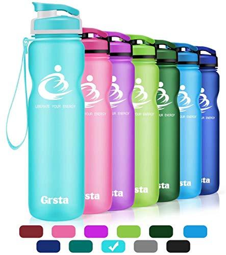 Grsta Bottiglia d'Acqua Sportiva - 32oz-1000ml Borraccia Sportiva, a Prova di perdite, Riutilizzabile Senza BPA tritan plastica Detox Bottiglie Acqua per Palestra, Sport, Yoga, la Corsa (Azzurro)
