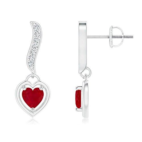 Singles Day Sale - Orecchini pendenti a forma di cuore con rubino e diamanti incastonati (4 mm rubino) e Oro bianco, colore: Argento/bianco., cod. ANG-E-SE1381RD-WG-AA-4