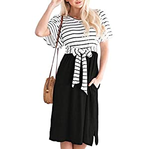Women's Summer Striped Ruffle   Casual Swing Midi Dress