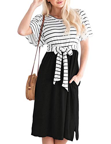 Women's Summer Striped Ruffle Casual Swing Midi Dress 3