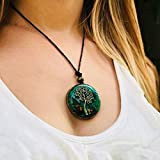 ORGONITE Necklace, Tree of Life, EMF-Protection energy generator - Contains quartz, crystals, malachite, tiger eye, resin, metals-daily use-yoga meditation, handmade, Arte Orgones