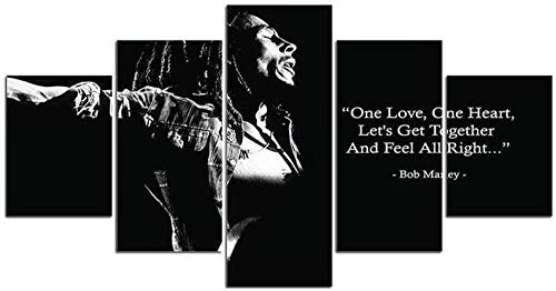104Tdfc Grande Quadro su Tela 5 Pezzi Quadro multipannello 5 Parti Bob Marley Singers. XXL 150X80cm Moderni Murale Immagini Decorazione Regalo Creativo